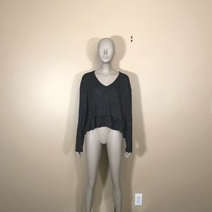 Olivia Rae Black Long Sleeve Ruffle Crop Top